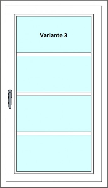 Kunststoff-Fenstersprossen zum nachrüsten - 4 Felder, ohne Sprossenkreuz, weiß, horizontal