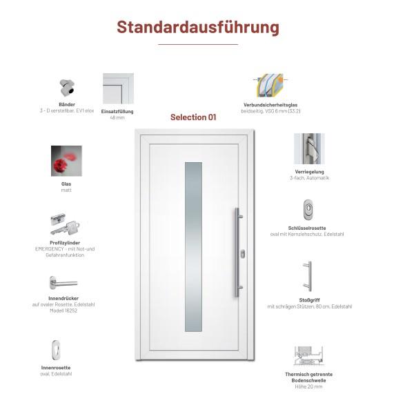"Aluminium Haustür ""Selection 01"" - Maße 976 mm x 2020 mm - sofort lieferbar"