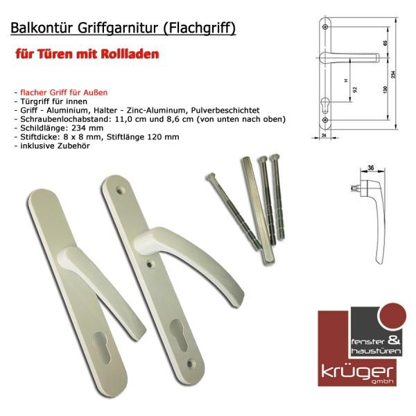 Balkontürengriff Schmalrahmen mit Flachgriff Außen 36mm Weiß RAL 9016