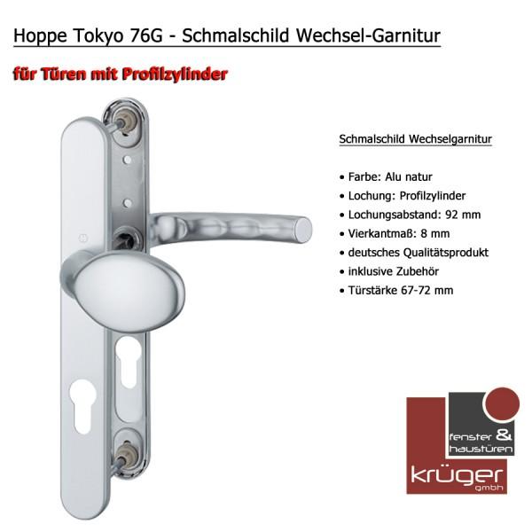 Hoppe Tokyo 76G Wechselgarnitur in Alu Natur PZ 92 mm