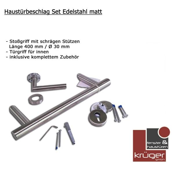 Edelstahl Haustürbeschlag-Set mit Stoßgriff, Klinke und Zubehör