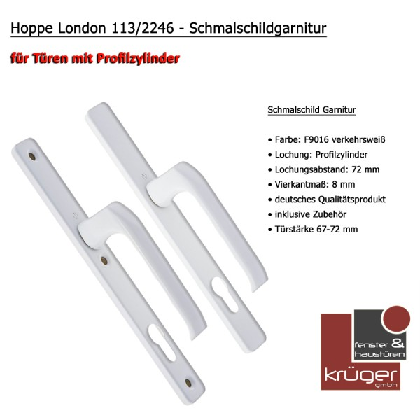 Hoppe London Schmalschild Garnitur mit Vierkantstift in Alu Weiß PZ 92 mm