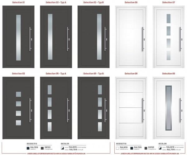 Aluminium Haustüren Programm Selection - Kurzlieferprogramm