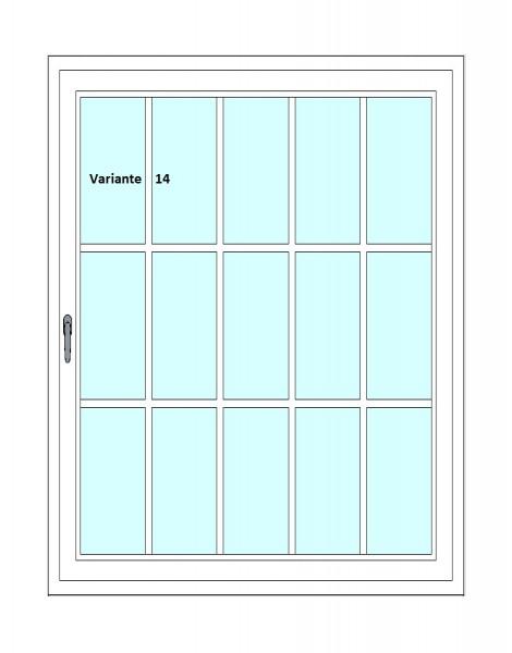 Kunststoff-Fenstersprossen zum nachrüsten - 15 Felder, 8 Sprossenkreuze, weiß, horizontal/vertikal