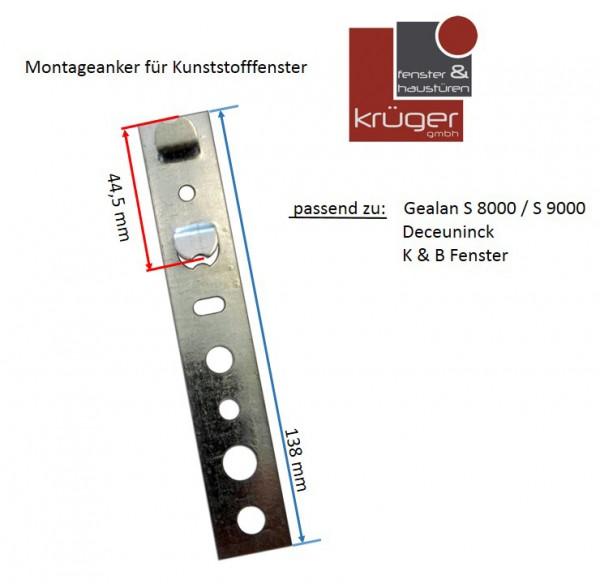 Montageanker für Gealan / Deceuninck / K&B Fensterprofile