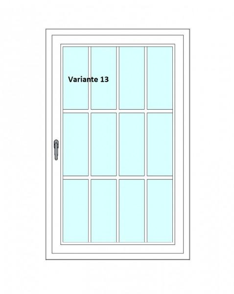 Kunststoff-Fenstersprossen zum nachrüsten - 12 Felder, 6 Sprossenkreuze, weiß, horizontal/vertikal