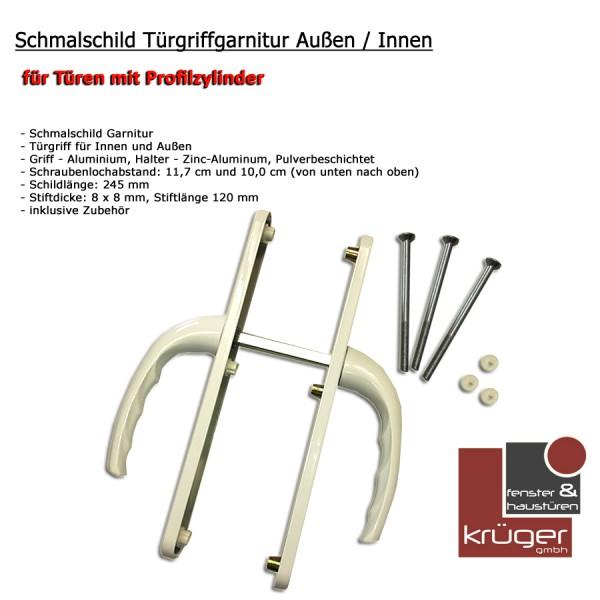 Aluminium Schmalschild Türgriffgarnitur Außen / Innen verkehrsweiß DIN Links-Rechts