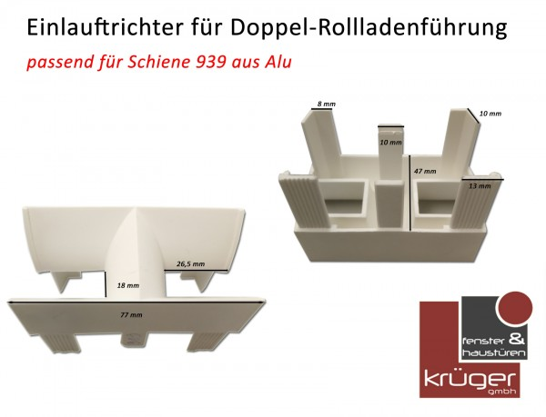 Einlauftrichter 919 für Alu Doppel Rollladenführung A-939 in weiß
