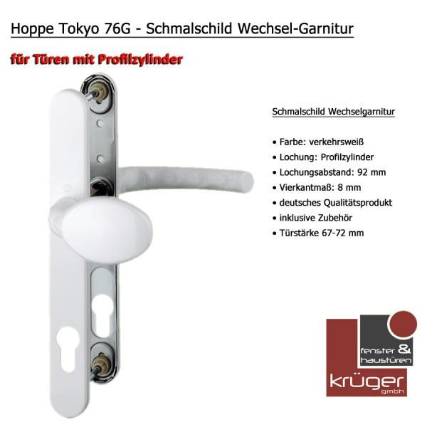 Hoppe Tokyo 76G Wechselgarnitur in Alu Weiß PZ 92 mm