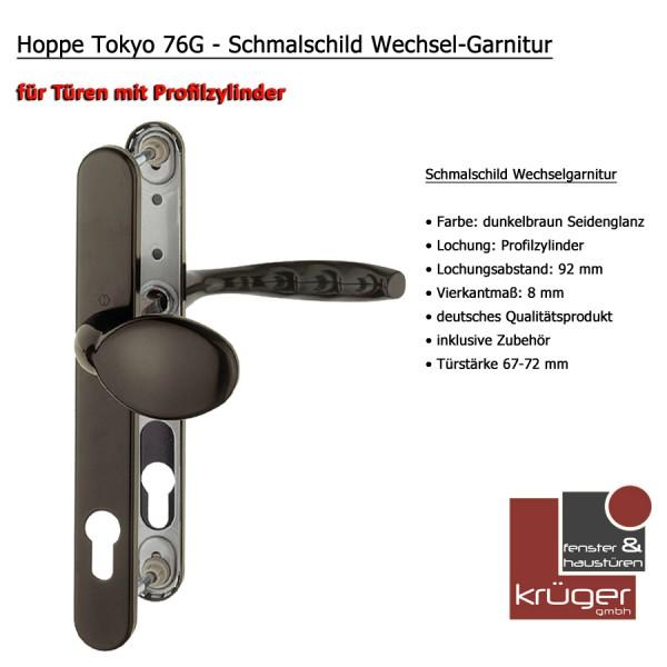 Hoppe Tokyo 76G Wechselgarnitur in dunkelbraun PZ 92 mm