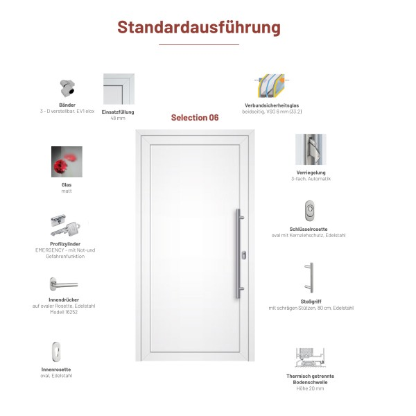 "Aluminium Haustür ""Selection 06"" - Maße 965 mm x 2119 mm"