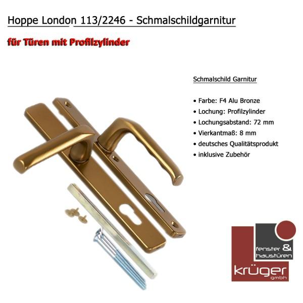 Hoppe London Schmalschild Garnitur mit Vierkantstift in Alu Bronze PZ 72
